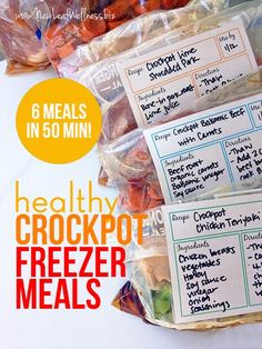 Six Healthy Freezer Crockpot Meals in 50 Minutes (Printable recipes and grocery list included). I made these and they were so yummy!