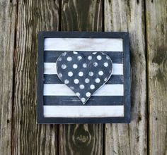 Wooden Heart Framed Sign Dot Heart on Black and by CleverGoose