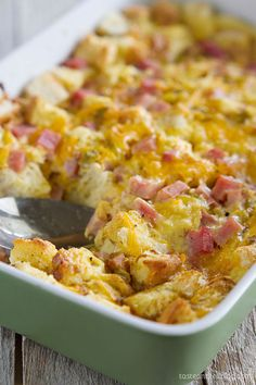 Leftover French bread mixed with ham, cheese, mustard, eggs, and milk is an easy and delicious make-ahead breakfast.  Get the recipe at Taste and Tell Blog.