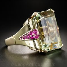 30 Carat Green Beryl/Aquamarine and Ruby Retro Cocktail Ring - Antique & Vintage Gemstone Rings - Vintage Jewelry