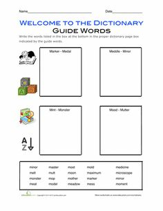 Worksheets: Dictionary Skills: Alphabetizing