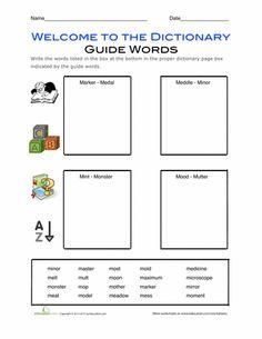 Worksheets: Dictionary Skills: Alphabetizing