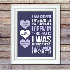 Adoption Print With Dates - I Was Chosen Print - Adoptive Mother Gift - Adoption Shower - Nursery De Adoption Quotes, Adoption Gifts, Adoption Day, Foster Care Adoption, Foster To Adopt, Bob Marley, Adoption Baby Shower, Just In Case, Just For You