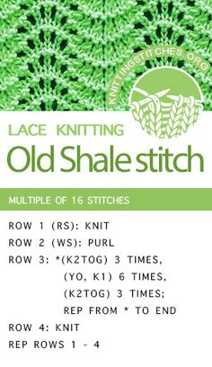 Baby Knitting Patterns Lace Learn How To Knit the Old Shale Lace Stitch. Lace Knitting Stitches, Lace Knitting Patterns, Knitting Charts, Easy Knitting, Loom Knitting, Knitting Socks, Knitting Needles, Stitch Patterns, Knitting Machine