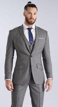 The Light Grey Nailhead Three Piece Suit