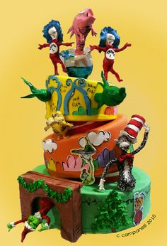Dr. Seuss cake.... again, don't like crooked layers, but seems slightly appropriate here