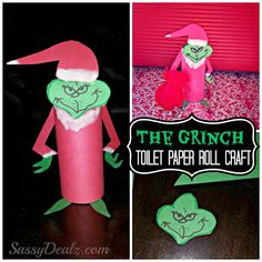 Grinch christmas toilet paper roll craft... This would be a great art project around the holidays to do and i'd probably recommend ages 5 and up. Some of the cutting parts can be frustrating like the Grinch's hands!