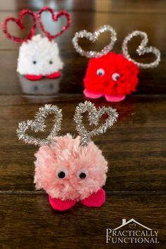 Make these adorable Valentine's Day pom pom monsters in just a few minutes! Great Valentine's Day craft for kids! Make these adorable Valentine's Day pom pom monsters in just a few minutes! Great Valentine's Day craft for kids! Valentine's Day Crafts For Kids, Valentine Crafts For Kids, Valentines Day Decorations, Toddler Crafts, Holiday Crafts, Diy And Crafts, Valentine Ideas, Diy Valentine's For Kids, Crafts With Yarn