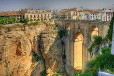 The beautiful Spanish city of Ronda is divided into two by a massive canyon that's over 100 metres deep!