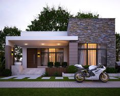 37 The Insider Secrets of Minimalist House Design Ideas With Front Porch Discovered - nyamanhome Modern House Facades, Modern Bungalow House, Modern House Plans, Modern Architecture, Flat Roof House, Facade House, Minimalist House Design, Modern House Design, Neoclassical Interior