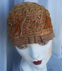 1920s Beaded Cloche, Silk, Tambour Embroidery, Chenille Trim, Flapper , Wearable, by Marde' New York.  via Etsy.
