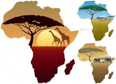 Africa Map Landscapes by Malchev Three African landscapes in map of Africa. Africa Map Landscapes by Malchev Three African landscapes in map of Africa. Art And Illustration, Illustrations, African Map, African Safari, Tribal African, Afrika Tattoos, African Drawings, Africa Painting, Painting Abstract
