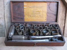 Antique Socket Set in Original Oak Wooden Box Awesome Condition #unknown