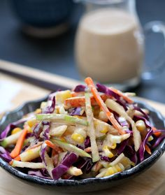 Apple-cabbage salad with sesame dressing