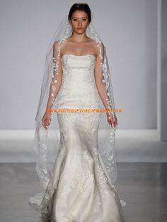 Robe de mariée sirène sans bretelle applique de fleurs