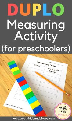 Introduce your young child to the concept of measurement with this fun, hands-on math activity. This measuring activity is perfect for pres. Free Preschool, Preschool Science, Preschool Learning, Kindergarten Math, Teaching, Measurement Activities, Math Measurement, Preschool Activities, Chaos Math