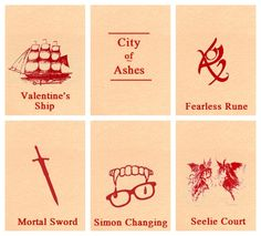 City of Ashes: Valentine's Ship: Pretty cool part. Fearless Rune: Awesomest part in the book.  Mortal Sword: Oh my gosh it almost kills Simon! Simon Changing: Actually good for him. Seelie Court: Ruled by the worst character ever.