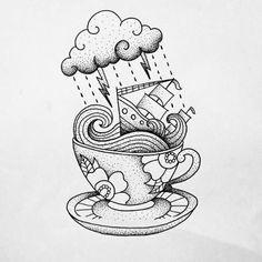 Storm in a Teacup tattoo by Makkala Rose Más Symbol Tattoos, Love Tattoos, Art Tattoos, Tattoo Sketches, Tattoo Drawings, Art Drawings, Outline Drawings, Teacup Tattoo, Cup Of Tea Tattoo