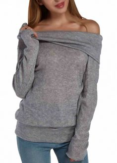 Grey Long Sleeve Cowl Neck Off the Shoulder Cozy Top