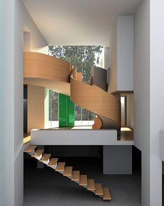 modern staircase - love the straight + curved combination. And color.