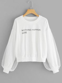 To find out about the Letter Print Contrast Mesh Sweatshirt at SHEIN, part of our latest Sweatshirts ready to shop online today! Teen Fashion Outfits, Womens Fashion, Mode Kawaii, Salopette Jeans, Jugend Mode Outfits, Mode Hijab, Sweat Shirt, Mode Style, Korean Fashion