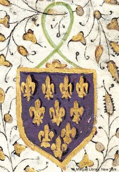 Heraldic shield (purpure, ten fleurs-de-lis or (4,3,2,1) within a bordure of the second) on cord   Book of Hours   France, Savoy or Besançon   ca. 1470   The Morgan Library & Museum