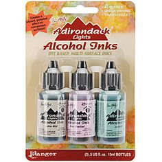 @Overstock.com - Adirondack Lights Alcohol Inks (Set of 3) - Acid-free and fade-resistant craft inks are great for stampingSet of three (3) fast-drying, transparent inks create a colorful polished stone effectAlcohol inks are ideal for multiple surfaces  http://www.overstock.com/Crafts-Sewing/Adirondack-Lights-Alcohol-Inks-Set-of-3/4072988/product.html?CID=214117 $7.89
