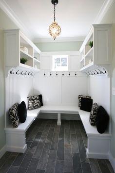 Mud Room with beautiful slate floors and pendant light.  #mudrooms homechanneltv.com
