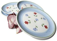 Caleca Petali 4-Piece Dinner Plate Set, Service for 4 by Caleca. $37.90. All natural majolica/ceramic components individually hand-painted with non-toxic glazes and colors. Caleca Petali means Petals, soft wavy bordeaux and light blue flowers dispersed randomly on a white background. Chip-resistant. Dishwasher safe; microwavable. Includes four art; 409 dinner plates. Caleca Petali means Petals, soft wavy bordeaux and light blue flowers dispersed randomly on a white background.