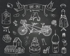 Chalkboard Wedding Clipart Clip Art: Chalkboard Bridal Clipart Clip Art with chalkboard wedding elements, bridal sign, Save the Date