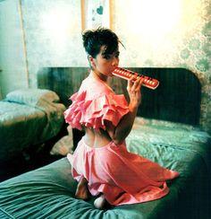 Björk playing melodica
