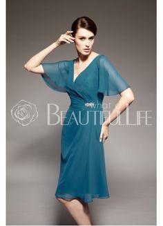 Beautiful Chiffon A-Line V-Neck Knee-Length Mother of the Bride Dress