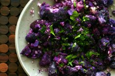 making these for dinner tonight: fork-crushed purple potatoes [photo & recipe credit: smittenkitchen]