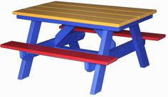 Poly Lumber Child's Picnic Table. Available All Colors.