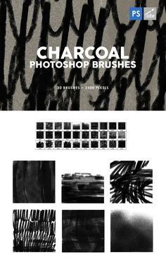 30 Charcoal Texture Photoshop Stamp Brushes Pixel Size, Photoshop Brushes, 30th, Charcoal, Stamp, Templates, Texture, Design, Surface Finish