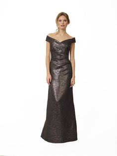 Liancarlo Style 3108 Lamé Twill off-the-shoulder gown with side draping detail #offtheshoulder #motherofthebride #evening #gown