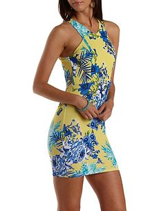 Tropical Racer Front Bodycon Dress: Charlotte Russe #tropical #floral #dress #bodycon