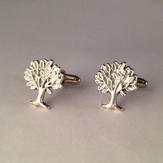 Men's Pair of Silver Metal Forest Shady Oak Tree by Lynx2Cuffs, $17.99