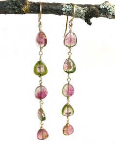 Tourmaline Jewelry, Watermelon Tourmaline, Healing, Drop Earrings, Gold, Instagram, Drop Earring, Yellow