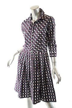 7088b6c796 Gray White Purple Purple Gray White Cotton Checker Us Knee Length Short  Casual Dress Size 6 (S)