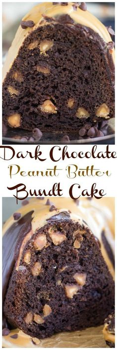 The Easiest Dark Chocolate Peanut Butter Bundt Cake - The Gold Lining Girl - sweet treats - This is the EASIEST bundt cake. Fudge, dark chocolate cake, with peanut butter chips, chocolate gan - Chocolate Bundt Cake, Chocolate Desserts, Chocolate Ganache, Peanut Butter Chocolate Cake, Peanut Cake, Baking Chocolate, Chocolate Chocolate, Peanut Butter Chips, Peanut Butter Recipes