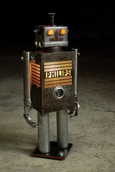 If It's Hip, It's Here: Robots Reborn. Upcycled Illuminated Robot Sculptures by +Brauer
