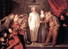 Italian Comedians - Artist Jean-Antoine Watteau.  French Rococo