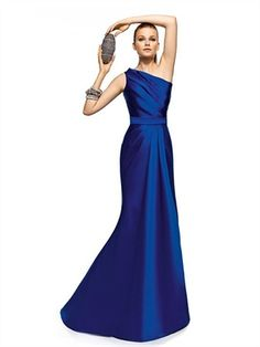 Long royal blue satin dresses