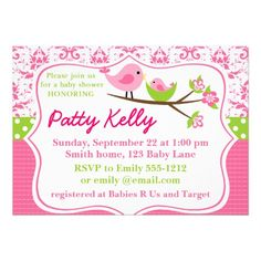 Pink Damask Baby Shower Invitation with birdies