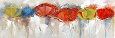 Dipinto a mano composizione moderna papaveri colorati - rif.03218