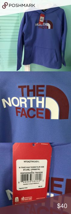 NWT North Face Hoodie New with tags! North Face hoodie, purpleish-blue in color with maroon and white writing. The North Face Tops Sweatshirts & Hoodies