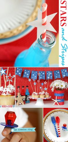Reagan's Birthday Party:  star hole punches in paper plate, painted plasticware, daisies as centerpieces