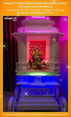 Amit Mhatre Home Ganpati Picture View more pictures and videos of Ganpati Decoration at www. Ganesha Art, Lord Ganesha, Ganpati Decoration Theme, Thermocol Craft, Ganpati Picture, Ganesh Chaturthi Decoration, Ganpati Festival, Decorating With Pictures, Festival Decorations