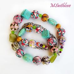 Hippie style necklace polymerclay handmade beads by MSwithlove